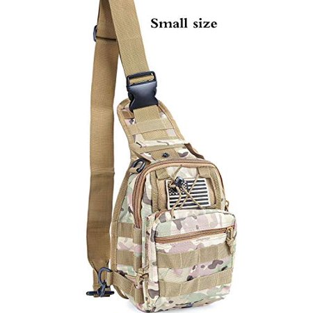 Boxuan Tactical Sling Bag Pack Military Rover Shoulder Sling Backpack EDC Molle Assault Range Bags Day Pack with Tactical USA Flag Patch - image 1 of 1