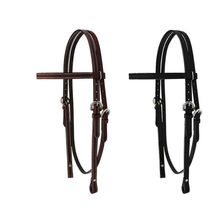 Tahoe Tack Double Stitched Flat Leather Western Browband Headstall - Mini / Black