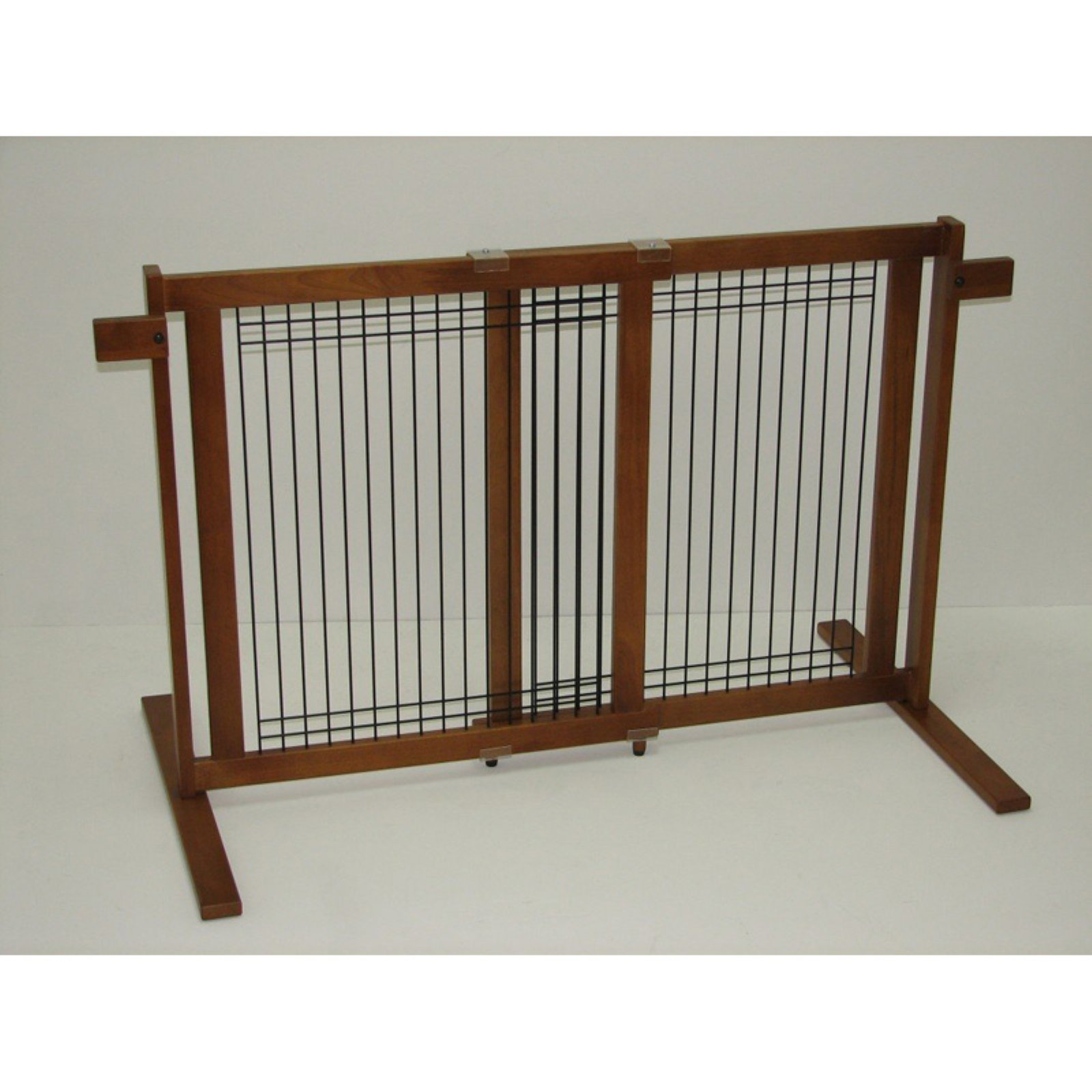 Color Pet Crown Pet Freestanding Wood/wire Pet Gate With Security Arms, Small Sp
