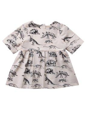 luethbiezx US Infant Kids Baby Girl Animal Half Sleeve Dinosaur Dress Outfits Beige Clothes