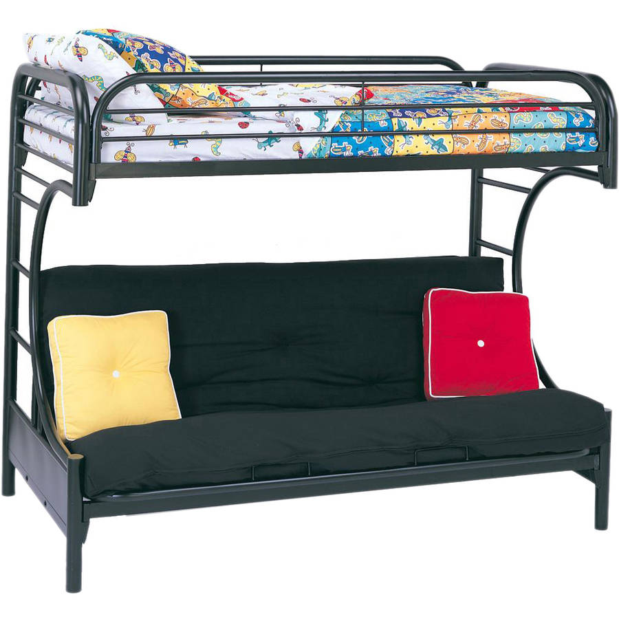 Eclipse Twin Over Futon Metal Bunk Bed, Multiple Colors