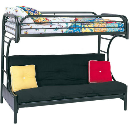 Eclipse Twin Over Futon Metal Bunk Bed, Multiple Colors - Metal Frame Futon Bunk Bed