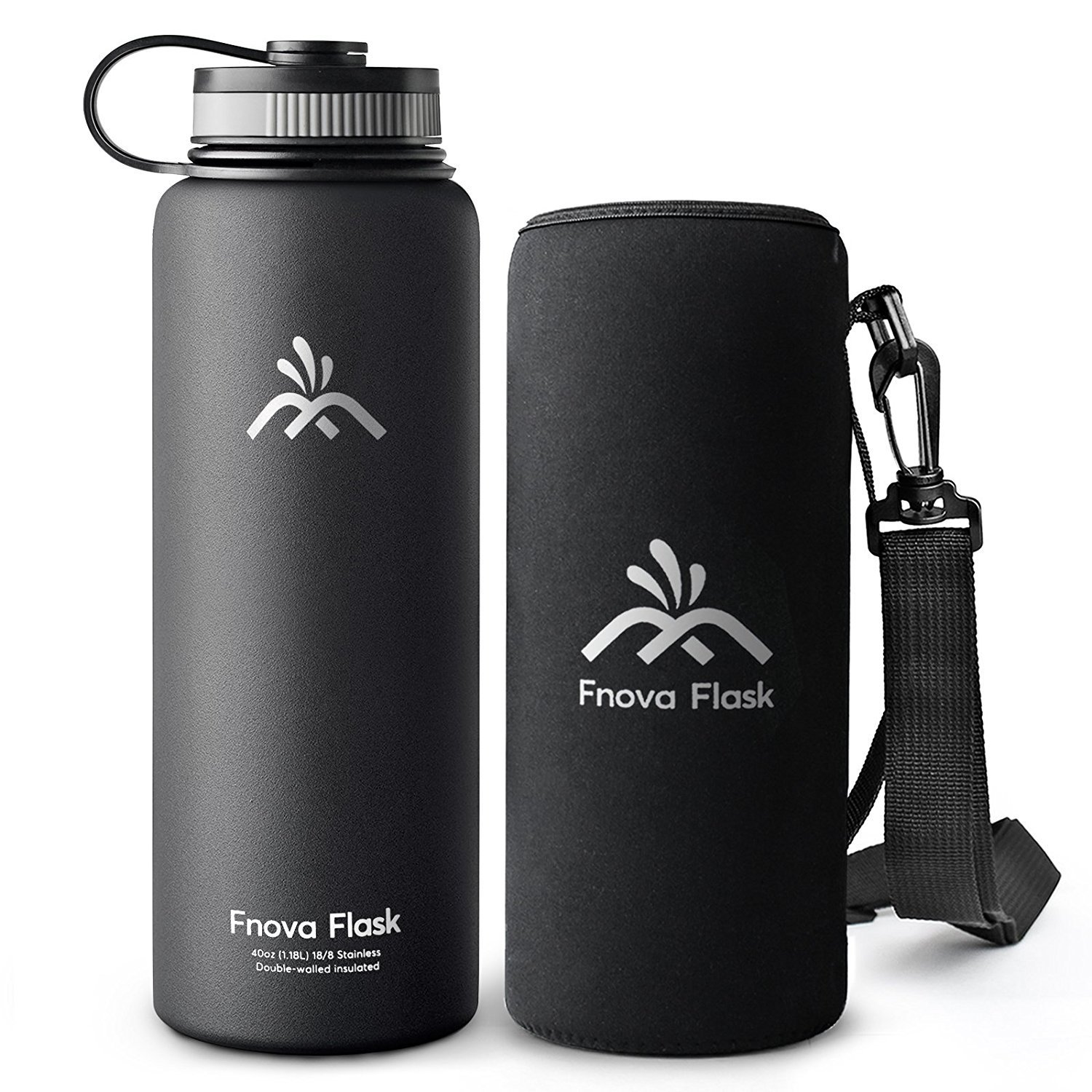 40 oz Stainless Steel Water Bottle, Fnova Flask Insulated Double Walled Vacuum Thermos, Wide Mouth bouns Protective Pouch/Carry Cover, BPA-Free, Cold 24 Hrs / Hot 12 Hrs
