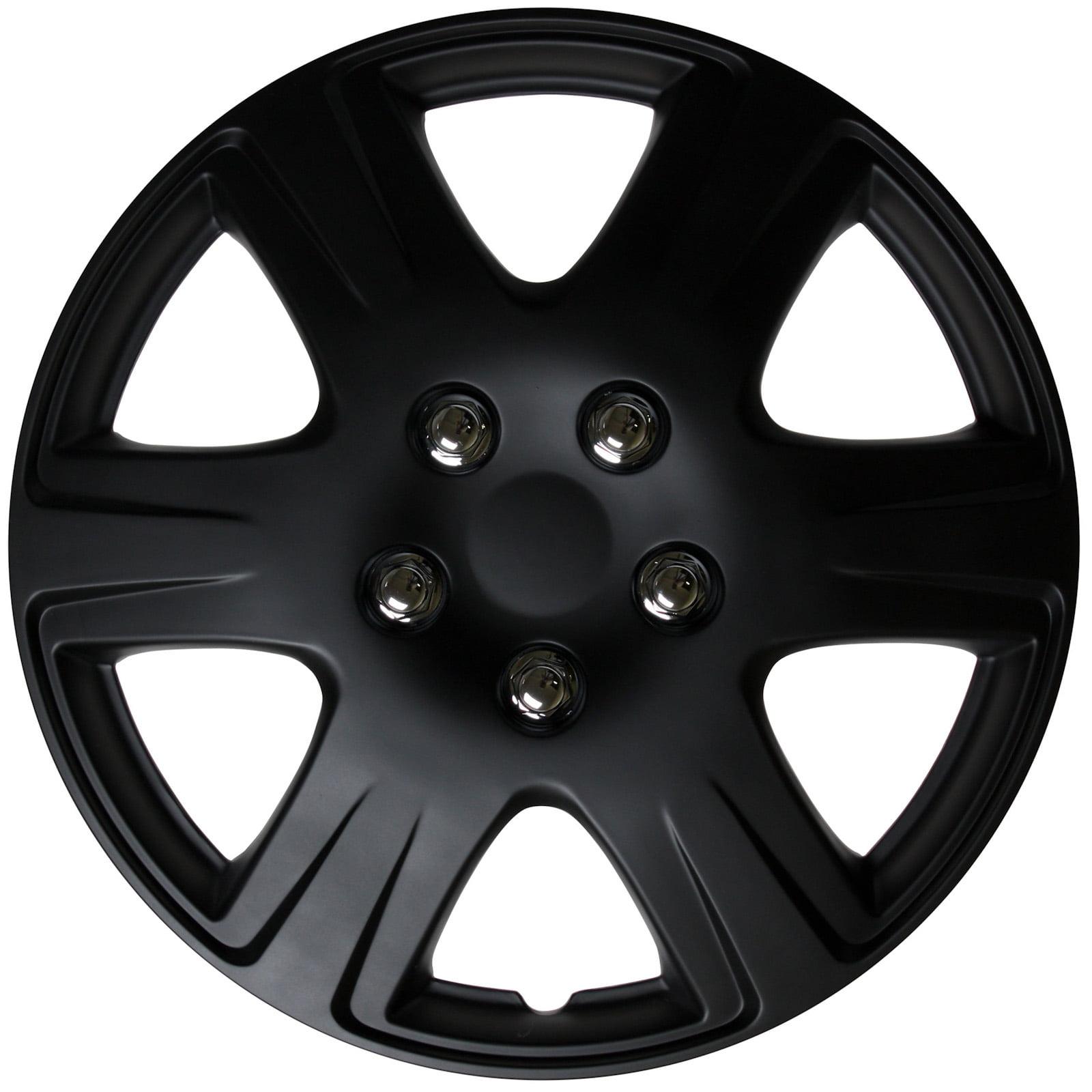 "cover trend (set of 4), universal 15"" black matte hub caps wheel"