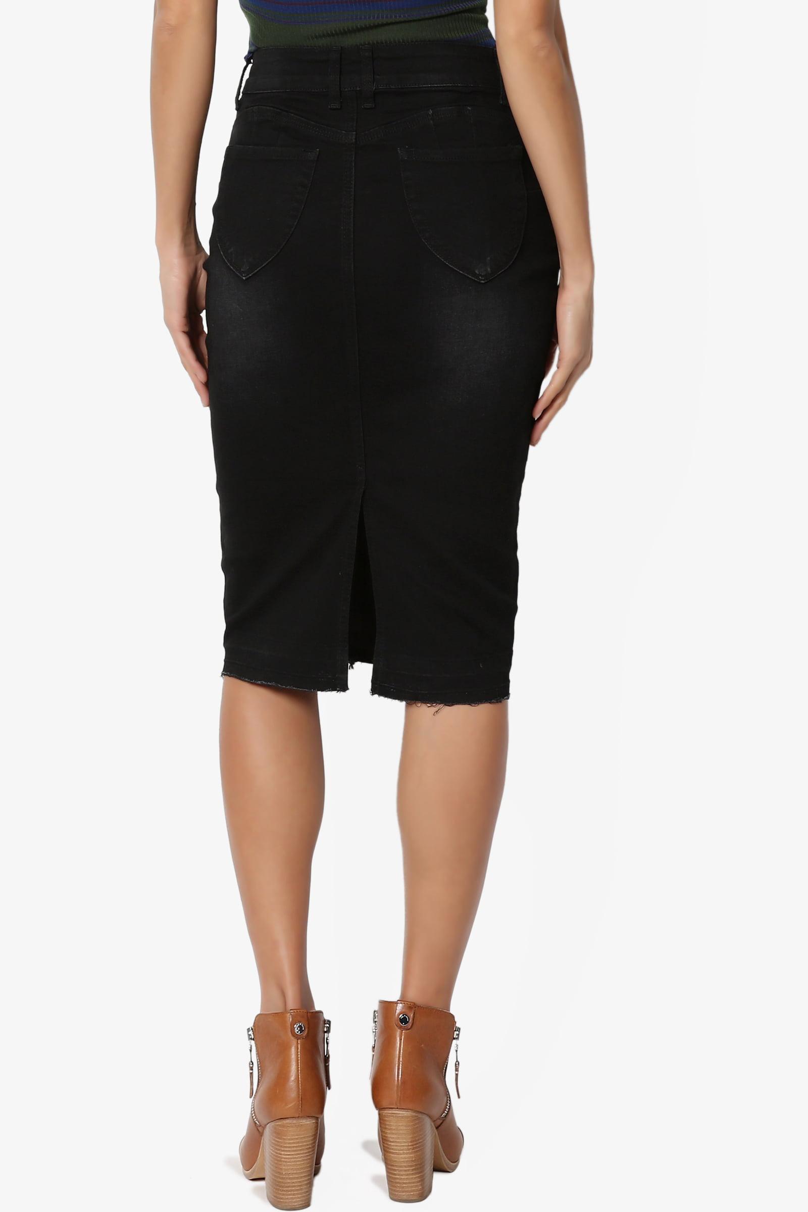 c08be9243fdd TheMogan - TheMogan Women's S~3X High Waist Soft Stretch Denim Butt Lift  Pencil Midi Jean Skirt - Walmart.com