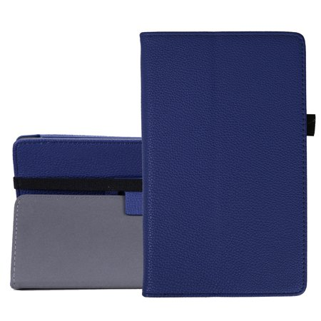 Hde Case For All New Amazon Fire Hd 8 Tablet  7Th Generation  2017 Release  With Included Screen Protector   Leather Folio Protective Cover Stand For Fire Hd 8 2017  Blue
