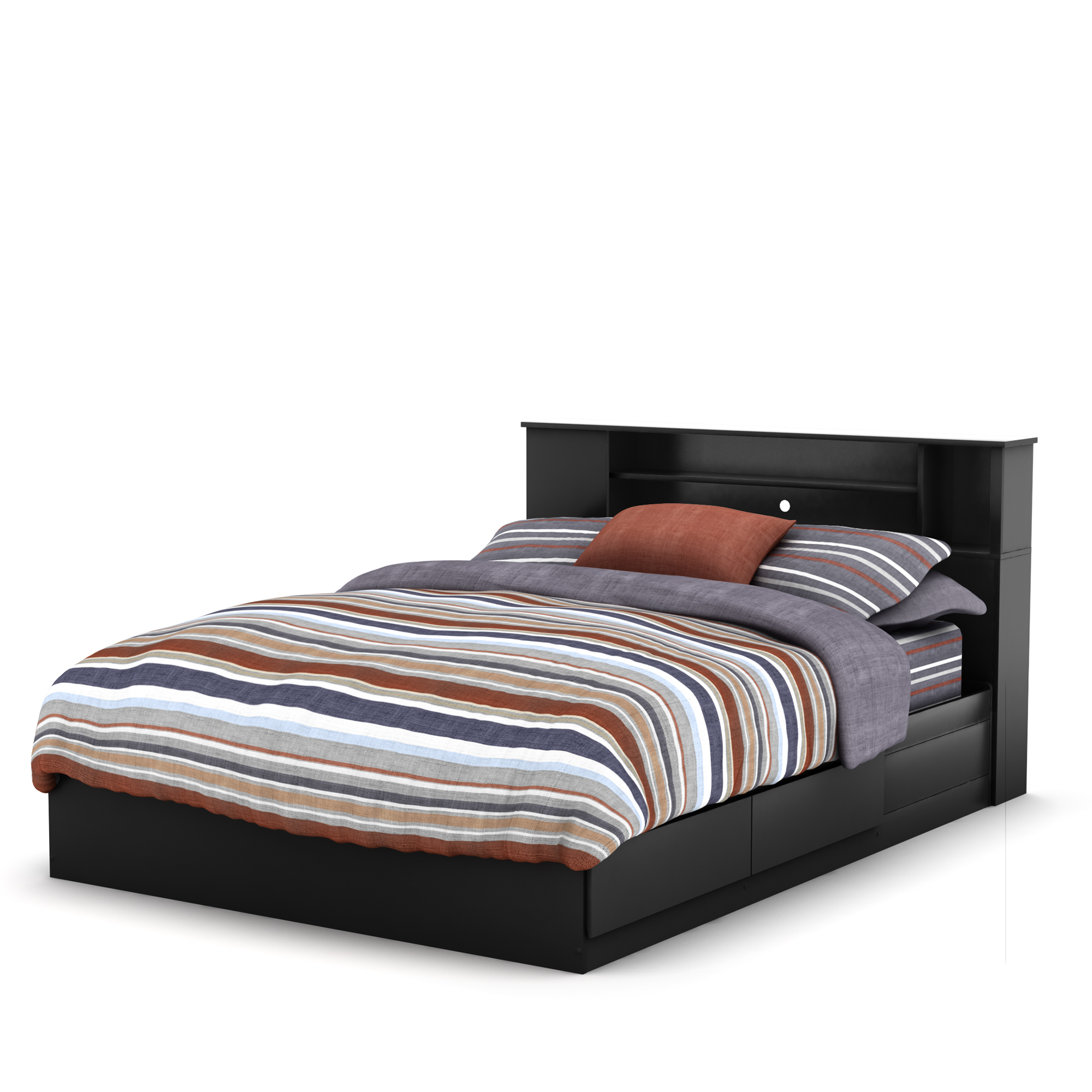 60 in. Queen Mates Bed with Bookcase Headboard in Pure Black