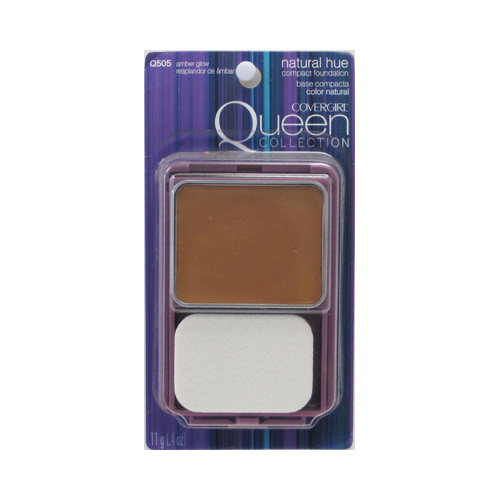 CoverGirl Queen Collection Natural Hue Compact Foundation, Amber Glow 505, 0.4 Ounce Compact
