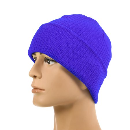 - Pure Color Striped Warm Knitting Wool Beanie Outdoor Riding Unisex Knitted Hat