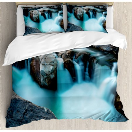Landscape King Size Duvet Cover Set  Waterfall Basalt Rocks Rural Scenery National Park Nature Woods Photo  Decorative 3 Piece Bedding Set With 2 Pillow Shams  Sky Blue Grey Green  By Ambesonne