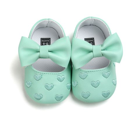 JEFFENLY All Seasons Baby Shoes Toddler Kids Baby Bowknot Leater Shoes Anti-slip Soft Sole First Walker