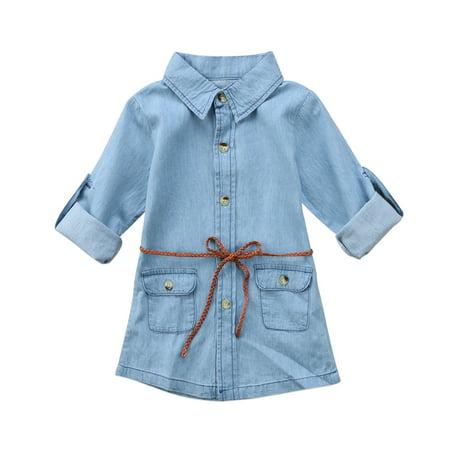 Toddler Girls Kids Long Sleeve Denim Dress with Belt 2-7T](Denim Girls Dress)