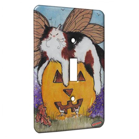 KuzmarK™ Single Gang Toggle Switch Wall Plate - Calico Maine Coon Kitty Fairy with Jack O'Lantern and Mice Halloween Cat Art by Denise (Halloween Cat Jack O'lantern)