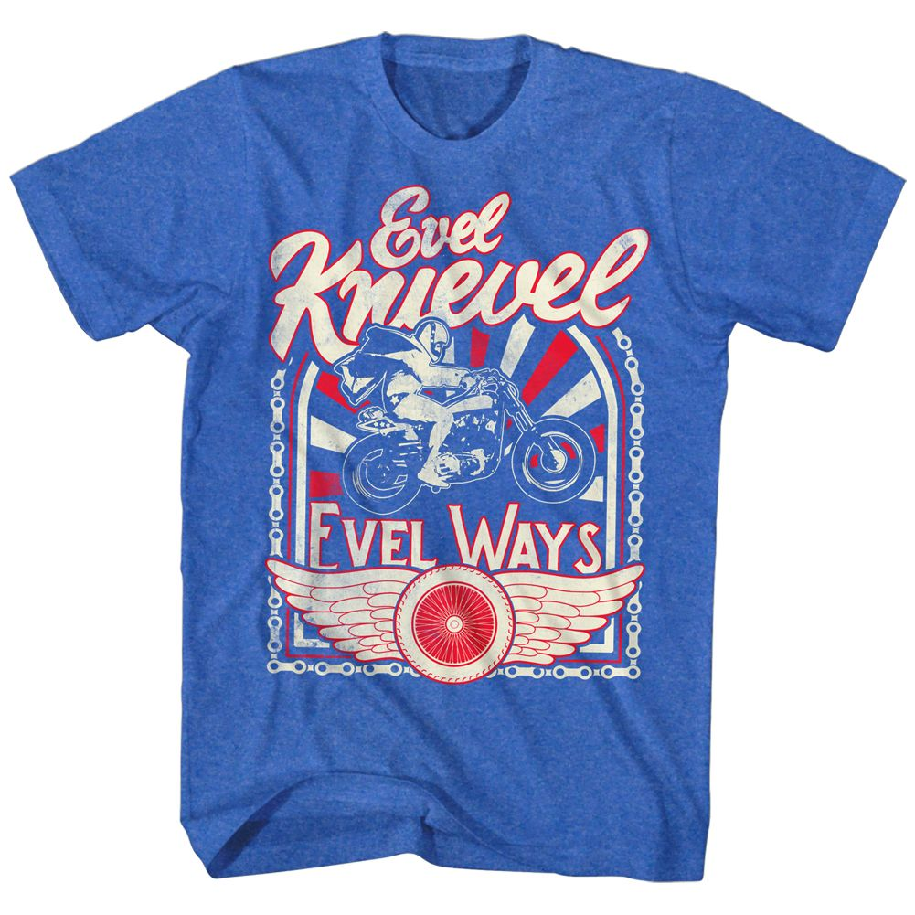 Evel Knievel American Iconic Daredevil Motorcycle Helmet Adult T-Shirt Evel Ways - image 1 of 1