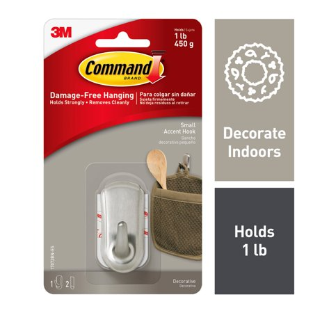 Command Accent Hook, Brushed Nickel, Small, 1 Hook, 2 -