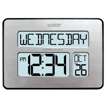 La Crosse Technology 513-1419BL-INT Backlight Atomic Full Calendar Clock with Extra-Large