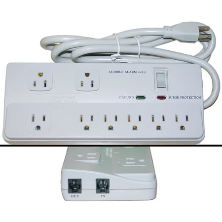 ACCL 6ft Power Cable With 8 Outlets Surge Protector, Fax Modem Protection, Max 2160 Joules, 4pk ()