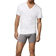Hanes Mens' White V-Neck T-Shirt, 6 + 1 Bonus Pack