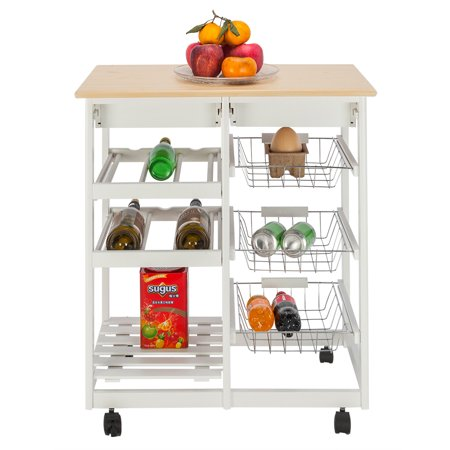 3-Tier Moveable Kitchen Storage Cart With Wheels, Wire Rolling Cart  Multifunction Utility Cart Kitchen Storage Cart on Wheels, With Two Drawers  & Two ...