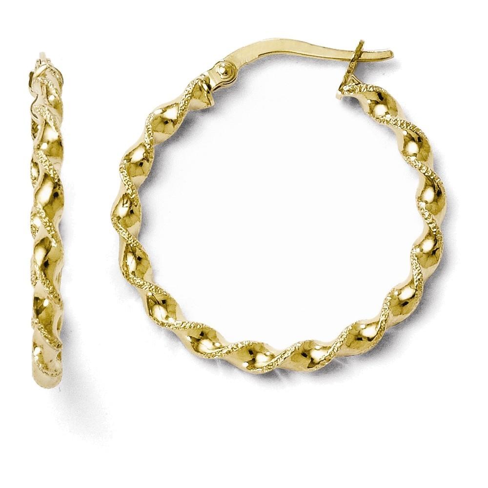 Leslies 10K Polished Twisted Hinged Hoop Earrings