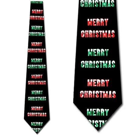 Merry Christmas (Black) Necktie Mens Tie (Merry Christmas Tie)
