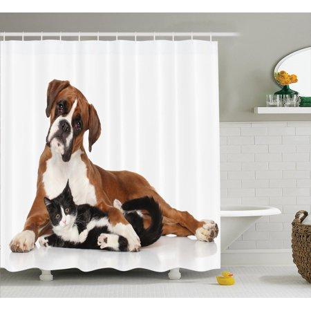 Animal Decor Shower Curtain Set Cat And Dog Together Lying On The Floor Cute Couple