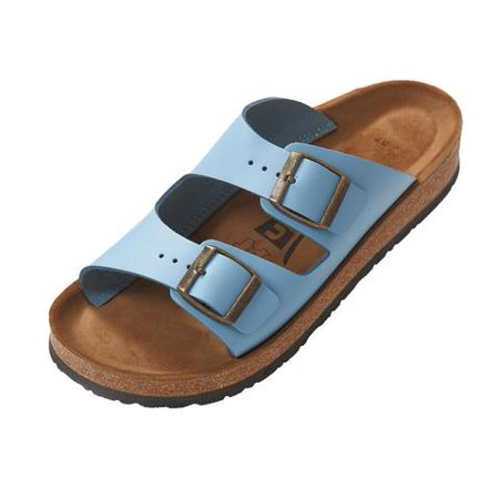 Uriel Women's Anatomic Blue Natural Cork Leather Two Strap Sandal (37 EU, 6.5 US, Blue) (Leather 2 Strap Sandals)