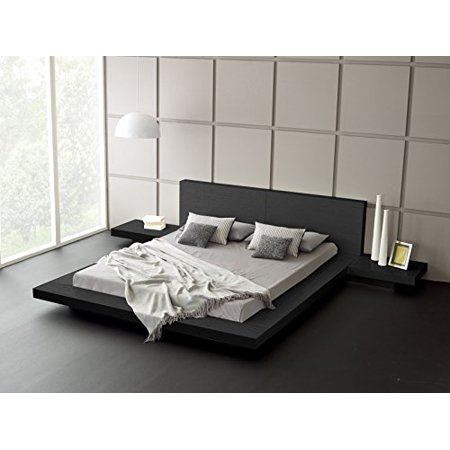 Ash Modern Bed - Fujian Modern Bed + 2 Night Stands King (Ash Black)