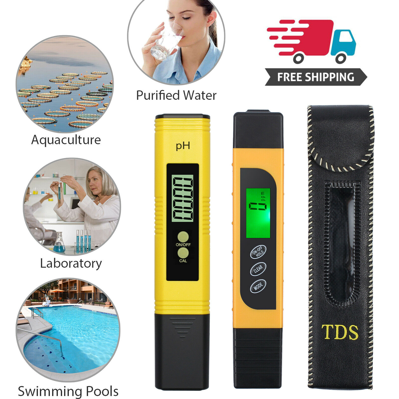 Digital PH Tester Acidity Meter 3 in 1 Water Quality Tester TDS EC Meter with Temperature for Household Drinking Water Hydroponics Aquariums Swimming Pools Blue PH+TDS