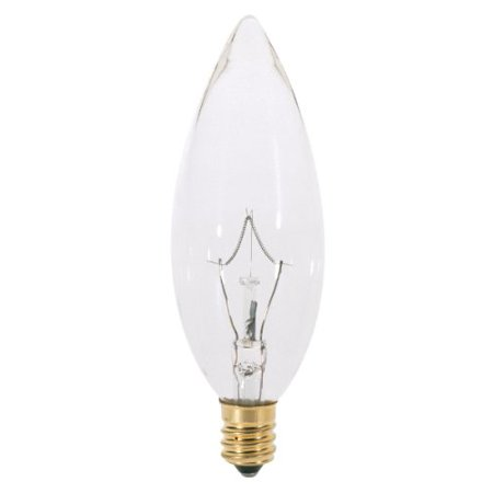 60w B10 Incandescent Bulb (Satco A3684 60W 130V B10 Clear E12 Candelabra Base Incandescent bulb)
