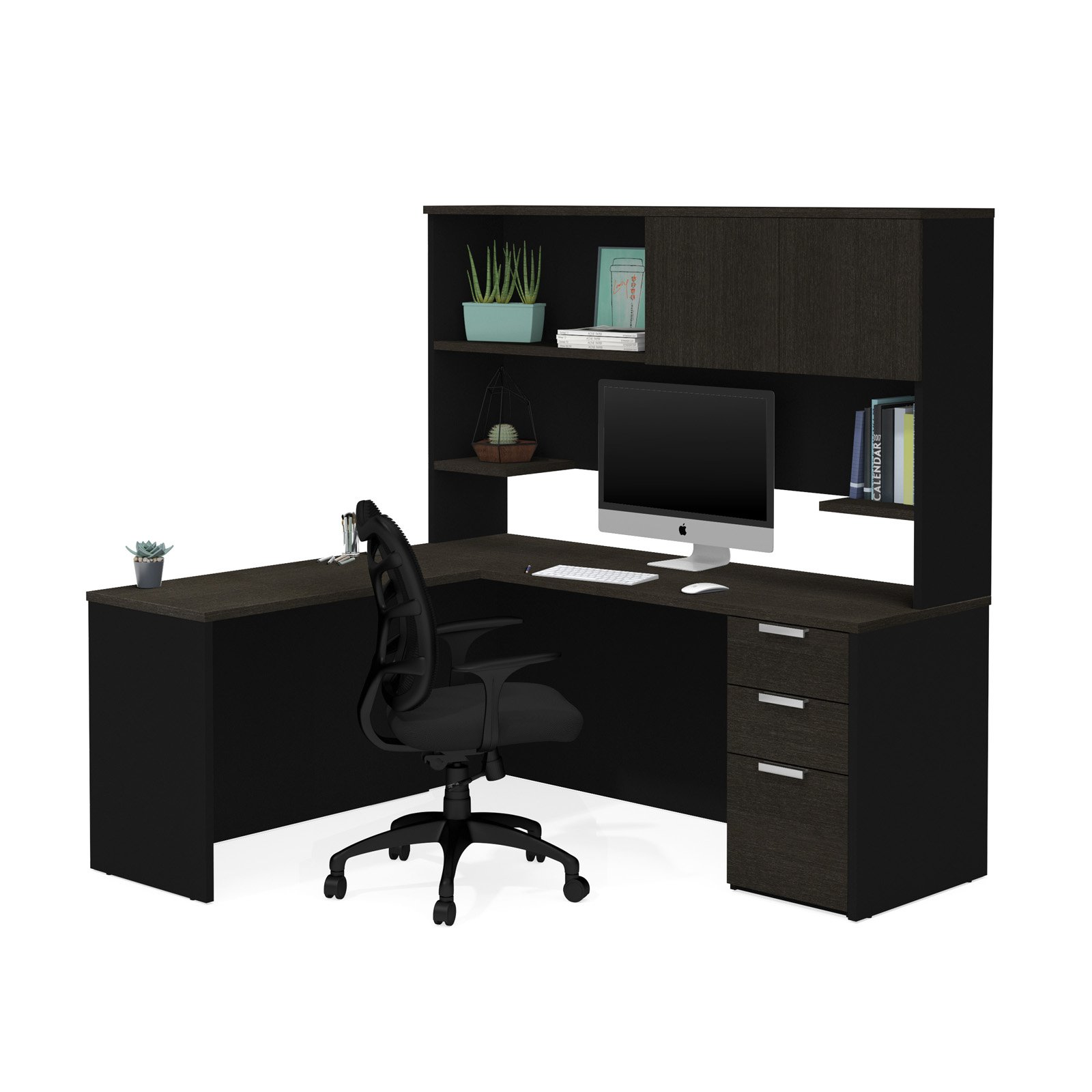 Pro-Concept Plus L-Desk with Hutch in Deep Grey & Black