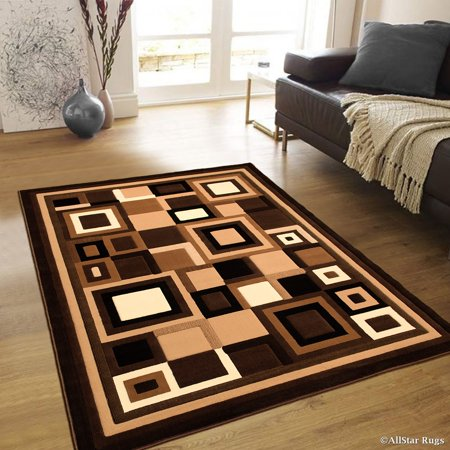Allstar Brown Abstract Modern Area Carpet Rug (3' 9