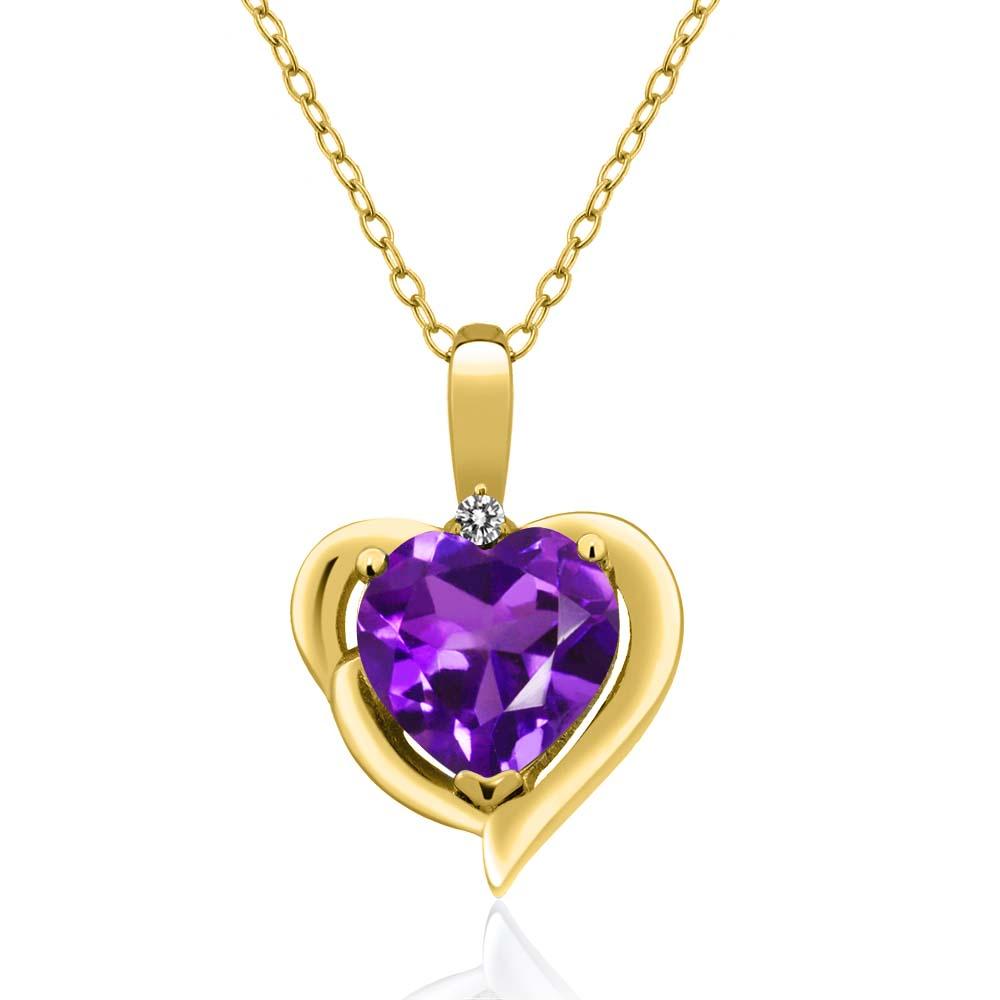 1.42 Ct Heart Shape Purple Amethyst White Diamond 14K Yellow Gold Pendant by