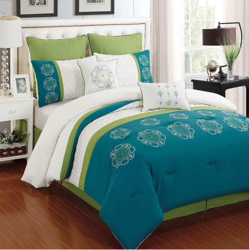 Awesome 12 Piece Kennedy Turquoise And Ivory Bedding Bed In A Bag Set   Walmart.com