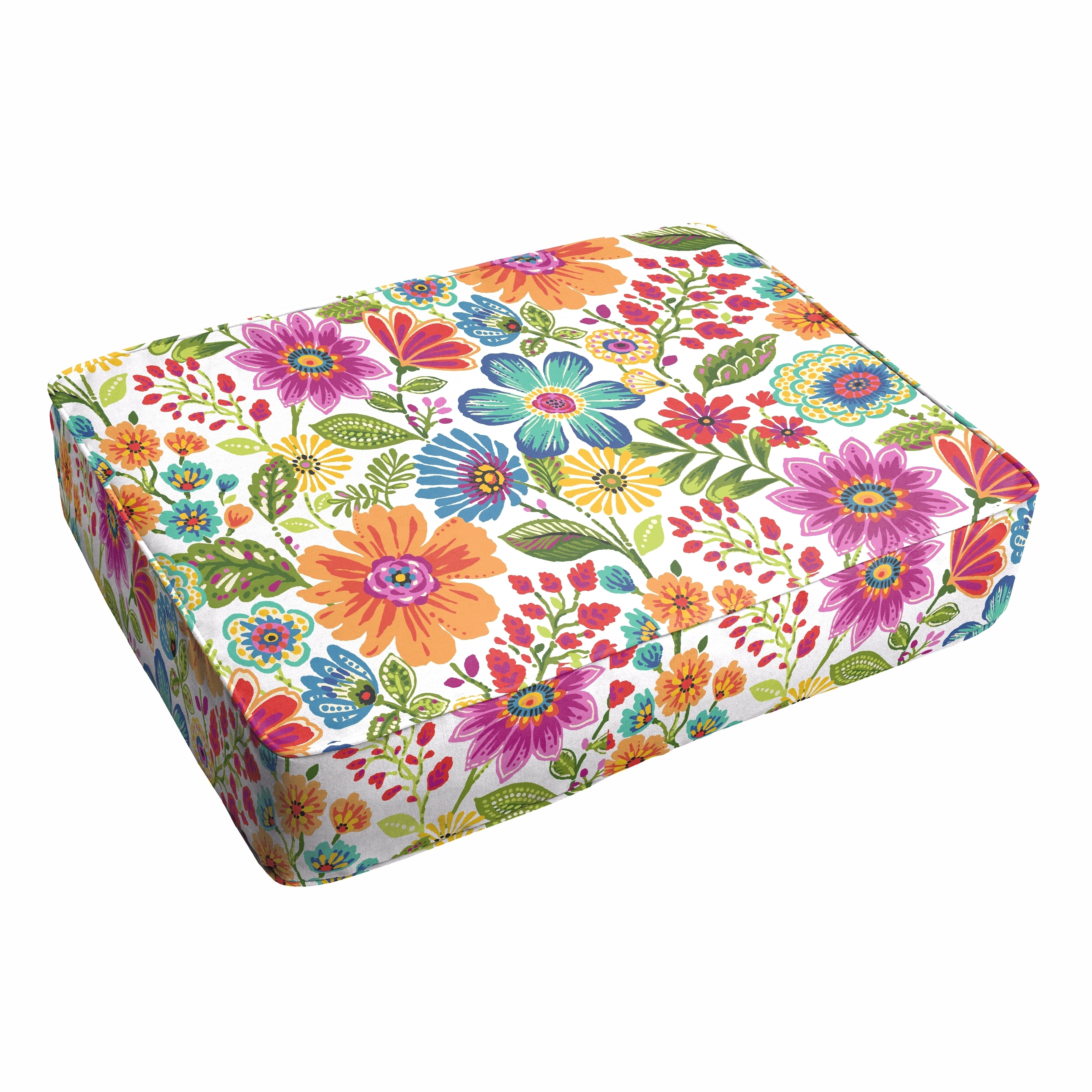 Humble and Haute Galliford Multi Floral Indoor/ Outdoor 18 x 29 Inch Corded Floor Cushion