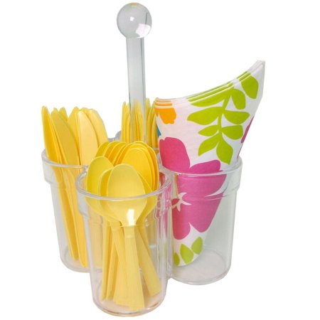 Caddy for Silverware Utensils Carrier Acrylic- Forks Spoons Knives Napkin Parties BBQ Picnic](Utensil Caddy For Parties)