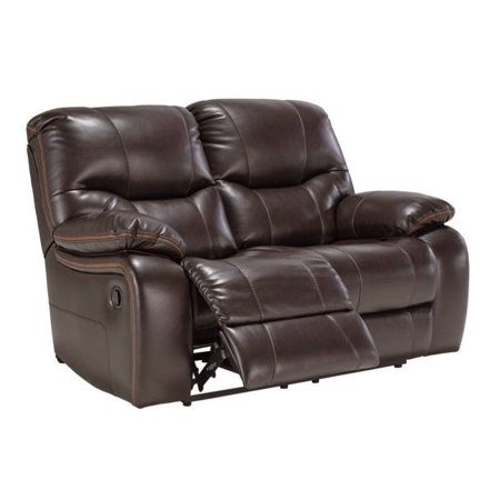 Ashley Pranas Faux Leather Reclining Loveseat In Brindle