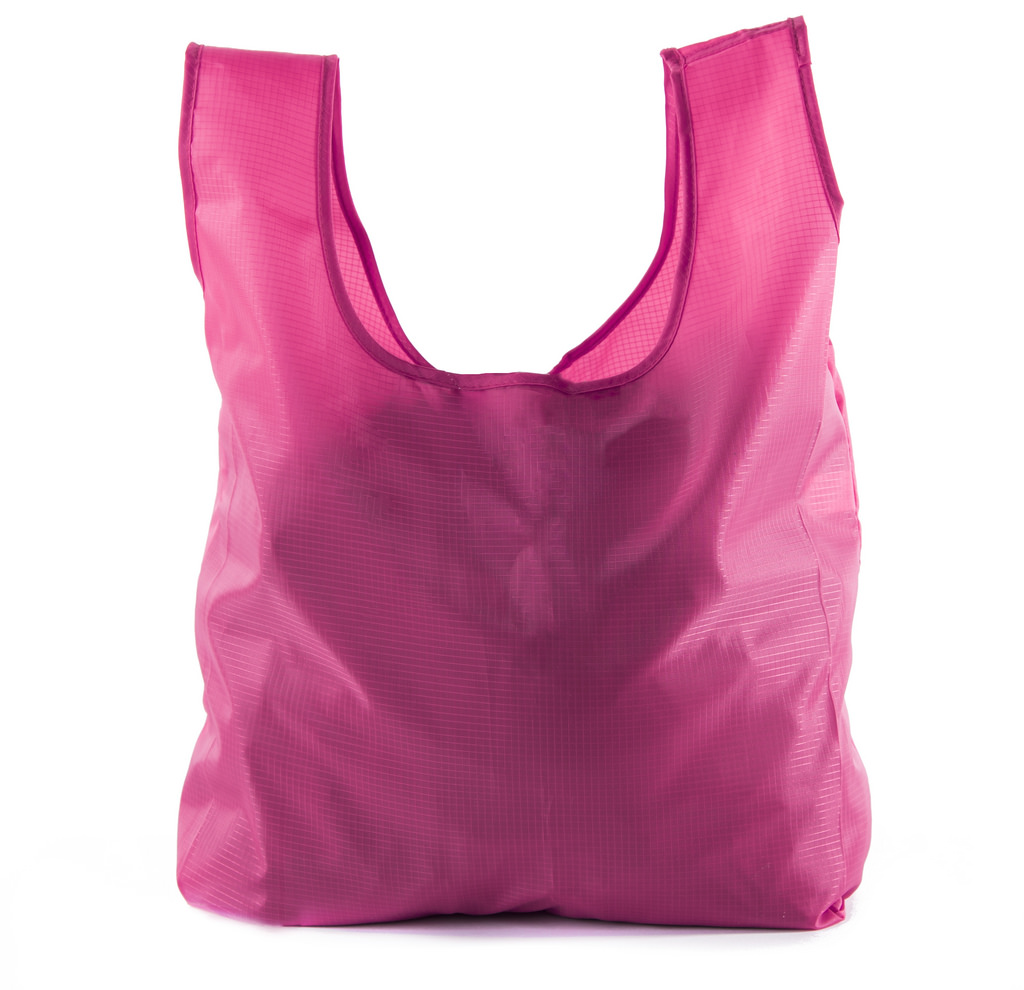 Reusable Grocery Bags | Foldable w/ Integrated String Pouch | Ripstop Nylon Tote - 5PK Pink CA2650