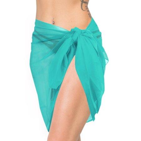 704a6d0148 HAPPY BAY - HAPPY BAY Beach Wrap Short Sarong Cover up Women Half Swimwear  Chiffon Solid Light Green - Walmart.com
