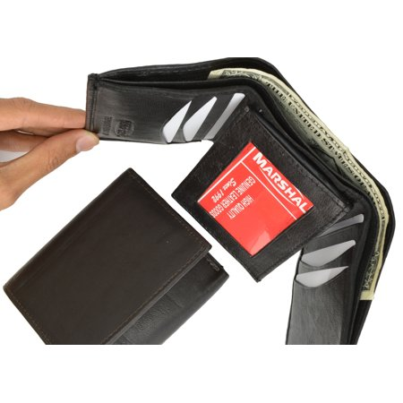 Trifold Middle Flap ID Lambksin Leather Wallet 3755 (C)