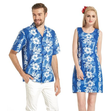 Made in Hawaii Couple Matching Luau Aloha Shirt Tank Dress White Hibiscus Panel in Blue L-M