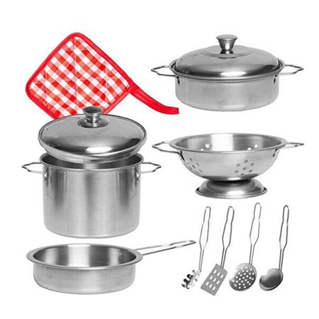Iuhan 11 Pcs Stainless Steel Cookware Set Kids Play House Kitchen Toys Pots Pans Gift Gift Set Pot