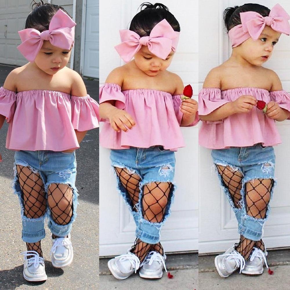 3PCS Toddler Kids Baby Girls Outfit Ruffles Off Shoulder Tops+Pants+Headband Set