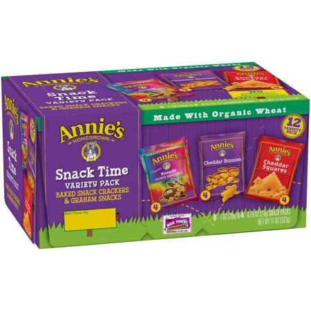 (2 Pack) Annie's Snack Pack Variety Cheddar Bunnies/Friends Bunny Grahams/Cheddar Squares Crackers 12 ct 11 oz - Kid Halloween Snacks