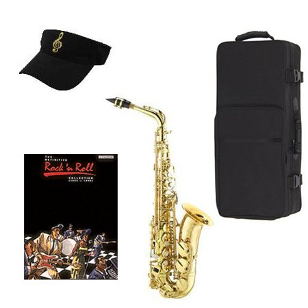 Definitive Rock N Roll Alto Saxophone Pack - Alto Sax w/Case, Accessories, Rock N Roll Play Along Vol 1 Book & Warranty ()