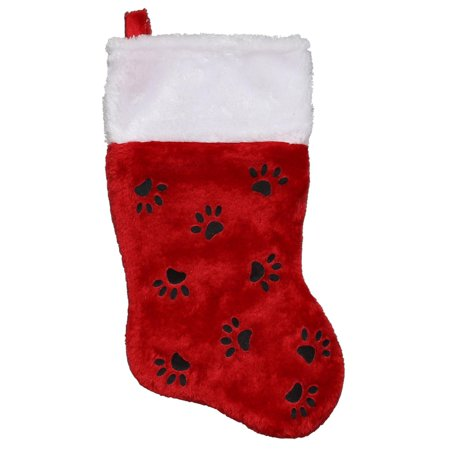 "15"" Red Super Plush Pet Christmas Stocking with Paw Prints and White Cuff"