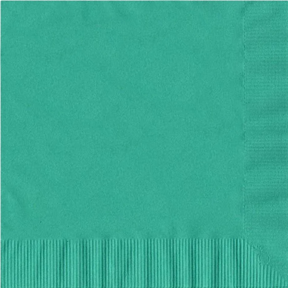 600 -  (12 Pks of 50) 2 Ply Plain Solid Colors Luncheon Dinner Napkins Paper - Teal