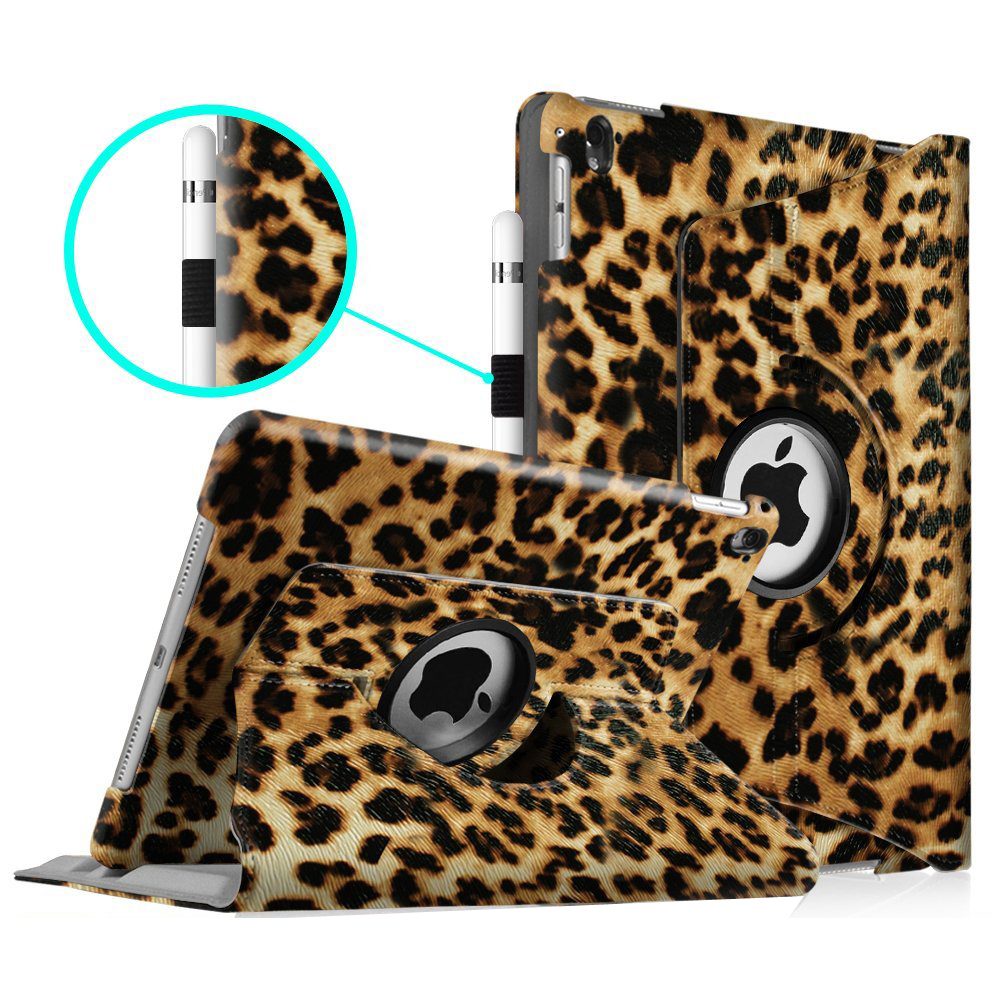 Fintie iPad Pro 9.7 Case - [360 Degree] Rotating Stand Case with Smart Cover Auto Sleep / Wake Feature, Leopard Brown