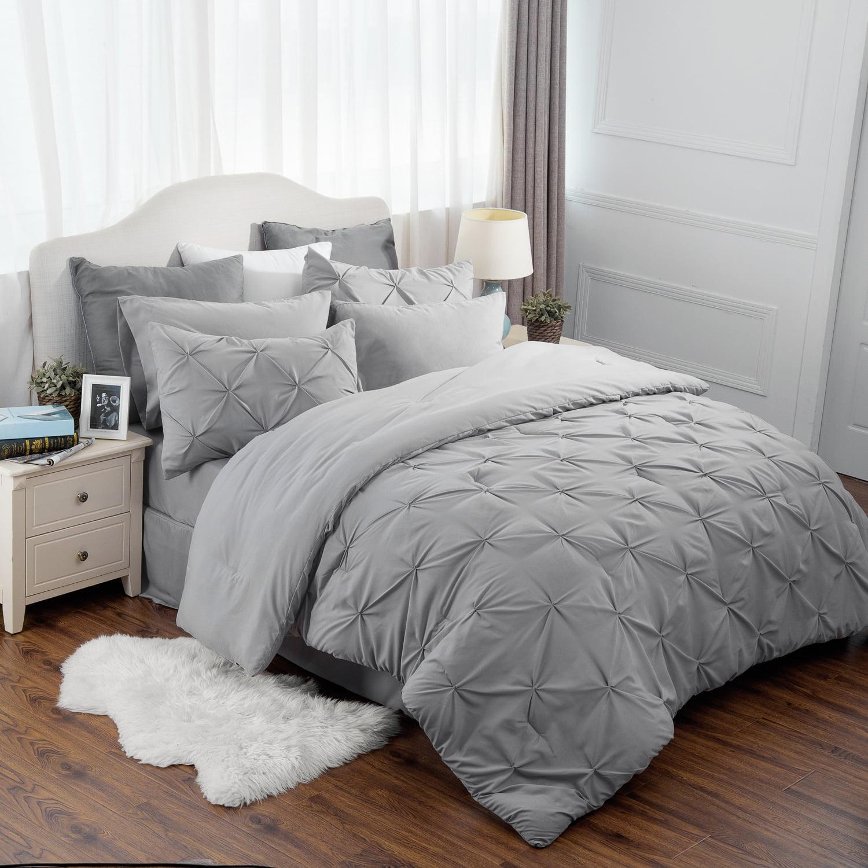 1 Down Alternative Comforter, 2 Shams, 1 Flat Sheet, 1 Deep Pocket Fitted Sheet, 1 Bed Skirt, 2 Pillowcases Bedsure Bed in A Bag White 8 Pieces Seersucker Bedding Set for Women Full//Queen