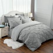 Bedsure 8 Piece Solid Grey Pinch Pleat Comforter Set Down Alternative Bed in A Bag (Comforter, 2 Pillowshams, Flat Sheet, Fitted Sheet, Bed Skirt, 2Pillowcases)